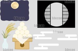 秋のイラスト素材:お月見セット
